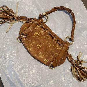 Suede twisted leather handle purse